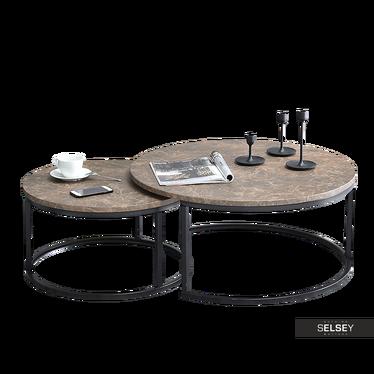 KODIA Tables gigognes marbre brun / noir Ø 60 cm et 80 cm
