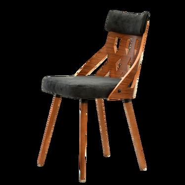 CRABI chaise noir / noyer dossier ajouré