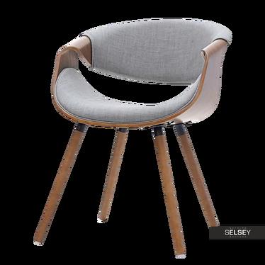BENTE Chaise tapissée noyer / gris