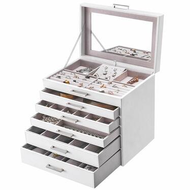 QUARTZ Boite à bijoux 5 tiroirs pour bagues, montres et boucles d'oreilles blanche