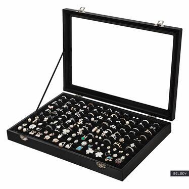 QUARTZ Boîte à bijoux pour bagues noire