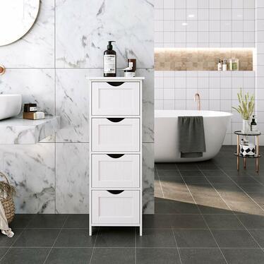 LUKE Colonne de salle de bain rustique 4 tiroirs