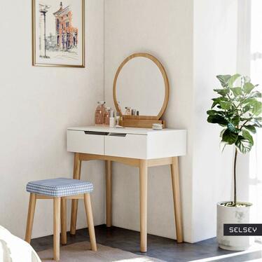 GAGA Coiffeuse avec miroir rond et tabouret blanc / chêne