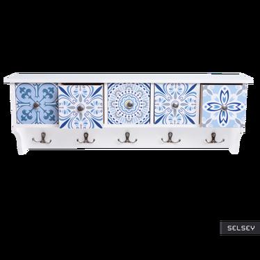 LAMELLA Étagère en bois 5 tiroirs, patère 10 crochets