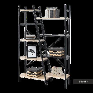 PYTHON Bibliothèque asymétrique 9 étagères noir / effet chêne