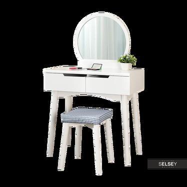 GAGA Coiffeuse avec miroir rond et tabouret blanche