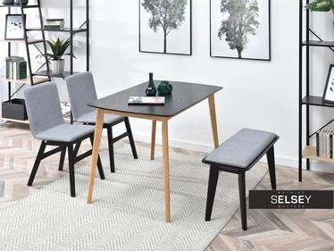 KANTINO Table noir / chêne avec chaises et banc