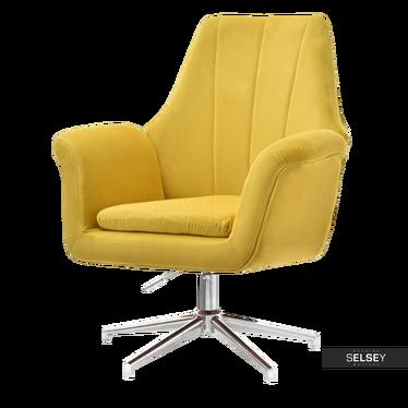 KING Fauteuil rotatif jaune / piètement chromé