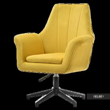 KING Fauteuil rotatif jaune / piètement noir