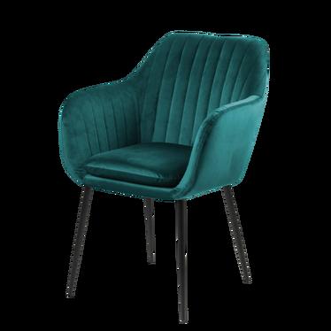 EMILIE VELVET Chaise vert bouteille / pieds en métal