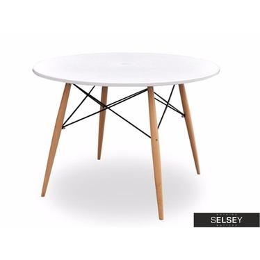 FUSION Table à manger blanche diamètre 100 cm