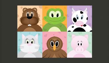 Papiers peint enfant - visages d'animaux 300x210 cm