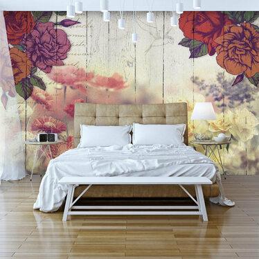 FLEURS VINTAGE Papier peint photo 300 x 210 cm