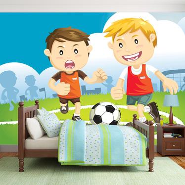 Papiers peint enfant - footballeurs 300x210 cm