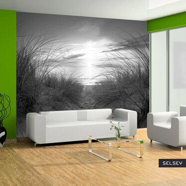 PLAGE EN NOIR ET BLANC Papier peint photo