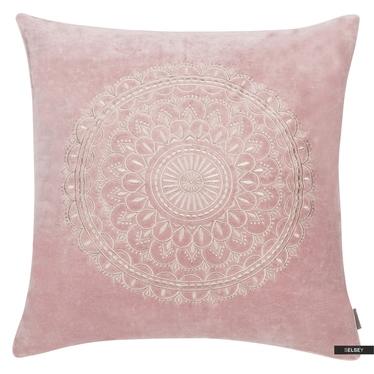 PRESTON VELVET Coussin rose pâle 45x45 cm