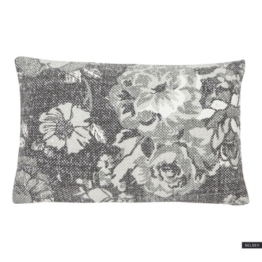 VINTAGE FLOWER Coussin gris 35x50 cm