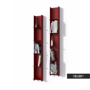 LIBRA Étagère bibliothèque murale étroite rouge