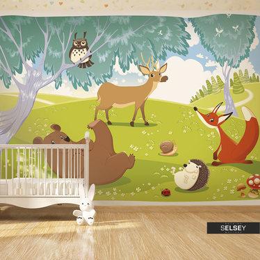 Papiers peint enfant - animaux de la forêt 350x245 cm
