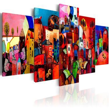 VILLE Peinture sur toile 5 pièces 200x100 cm