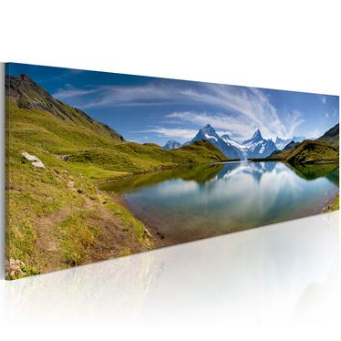 LAC DE MONTAGNE Peinture sur toile 120x40 cm