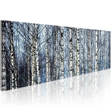 BOULEAUX BLANCS Peinture sur toile 120x40 cm