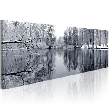 PAYSAGE HIVERNAL Peinture sur toile 120x40 cm