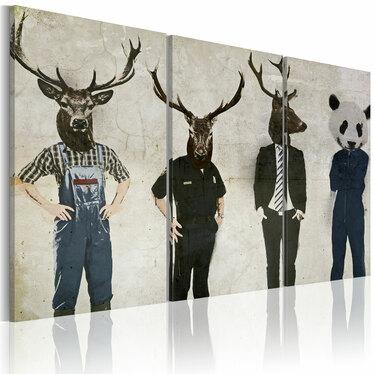 MAN OR ANIMAL Peinture sur toile 3 pièces 60x40 cm