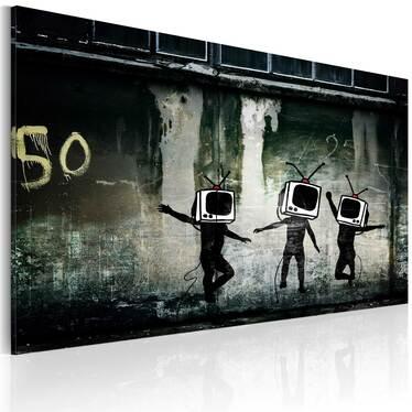 BANKSY : TV HEADS DANCE Peinture sur toile 60x40 cm