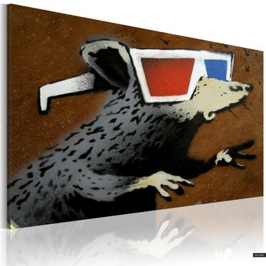 BANKSY : RAT WITH 3D GLASSES Tableau sur toile 60x40 cm