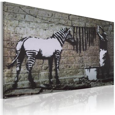 BANKSY : WASHING ZEBRA STRIPES Tableau sur toile 60x40 cm