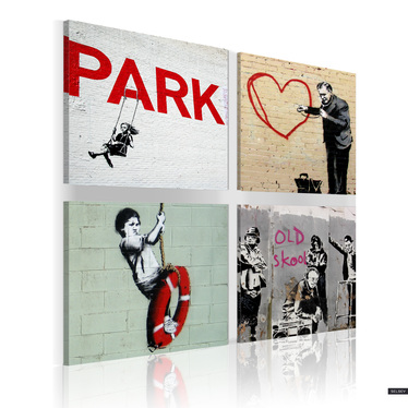 BANKSY : INSPIRATIONS URBAINES Set de 4 tableaux sur toile 80x80 cm