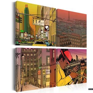 PARIS OU NEW YORK Set de 4 tableaux sur toile 80x80 cm