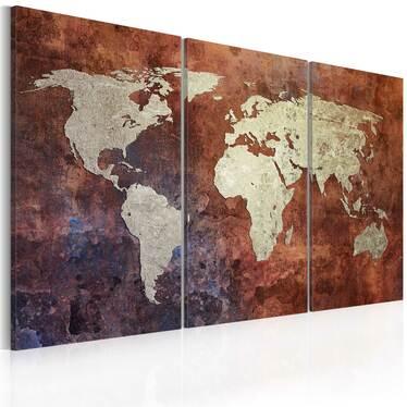 CARTE DU MONDE ROUILLÉ Peinture sur toile - triptyque 60x40 cm