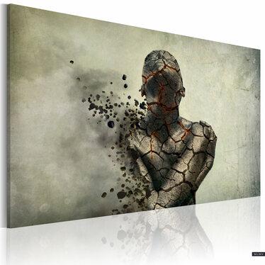 HOMME DE PIERRE Peinture sur toile 90x60 cm