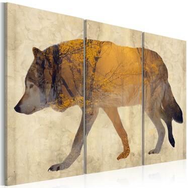 BALADE DU LOUP Peinture sur toile 60x40 cm