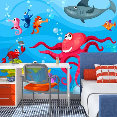 Papiers peint enfant - poulpe et requin 200x154 cm