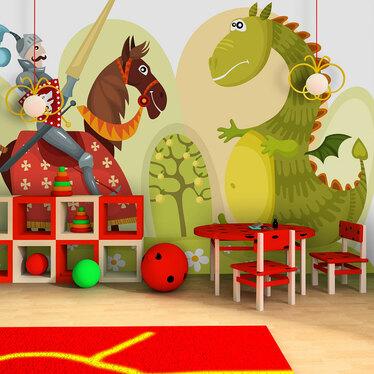 Papiers peint enfant - dragon et chevalier 200x154 cm