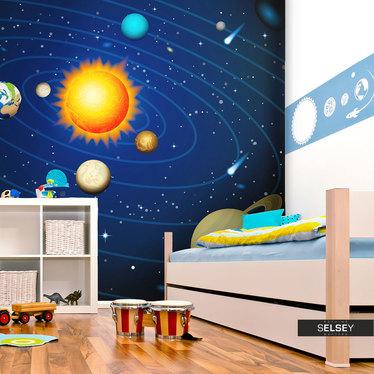 Papiers peint enfant - système solaire 350x270 cm
