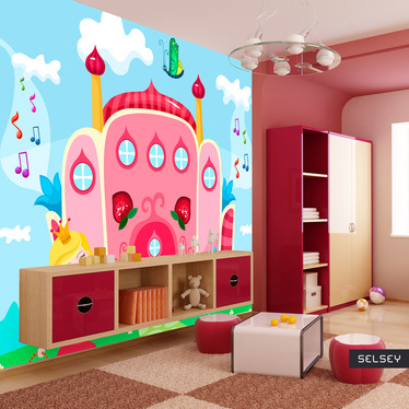 Papiers peint enfant fille - château princesse 200x154 cm