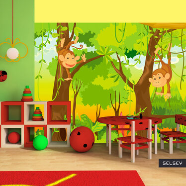 Papiers peint enfant - jungle et singes 200x154 cm