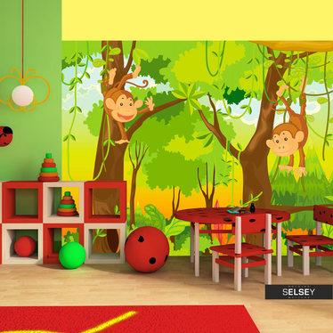 Papiers peint enfant - jungle et singes 350x270 cm