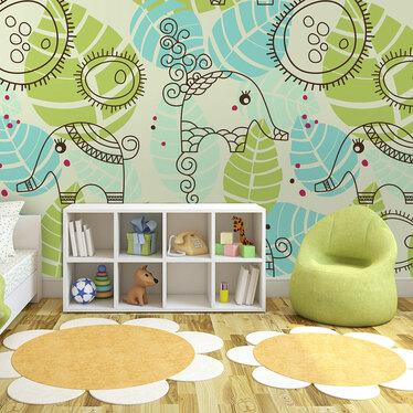 Papiers peint enfant - éléphants et feuilles 200x154 cm