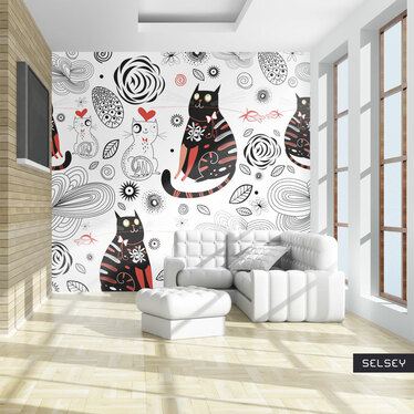 Papiers peint enfant - chats amoureux 200x154 cm