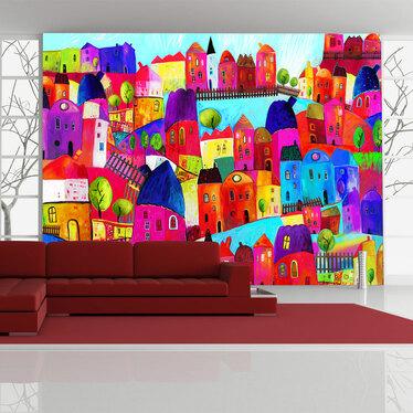 Papiers peint enfant - ville colorée 200x154 cm