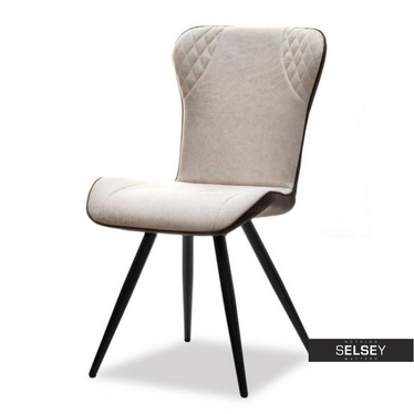 BRANTY Chaise rembourrée tissu beige / similicuir brun