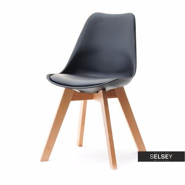 LUIS BOIS Chaise scandinave noire pieds hêtre