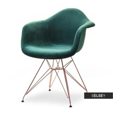 MPA ROD TAP Chaise en velours vert / cuivre