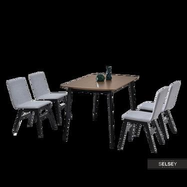 MODERO Table noyer / noir avec chaises