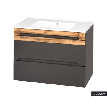 WARNER Meuble sous lavabo gris 80 cm